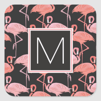 Monogram | Tropical Pink Flamingoes Square Sticker