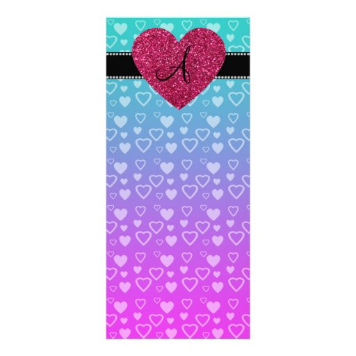 Monogram Turquoise and purple hearts Rack Card Template