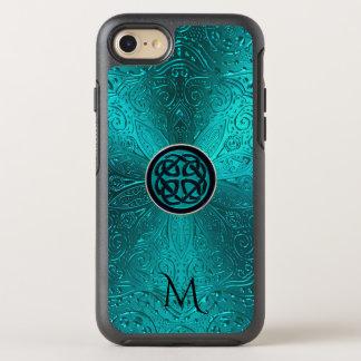 Monogram Turquoise Blue Green Celtic Knot Mandala OtterBox Symmetry iPhone 7 Case