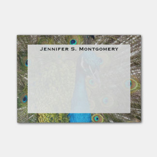 Monogram Turquoise Blue Lime Green Peacock Feather Post-it Notes