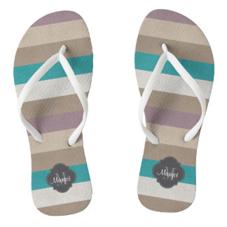 Monogram Turquoise,brown, white and violet Flip Flops