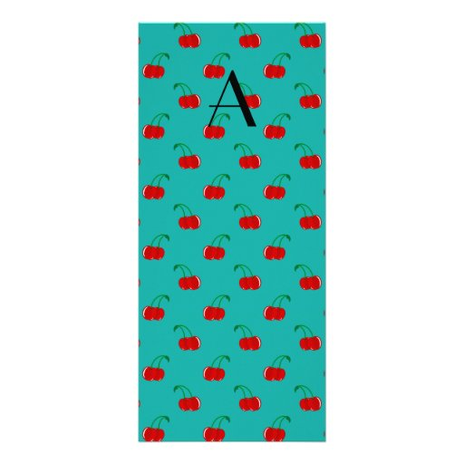 Monogram turquoise cherry pattern rack card