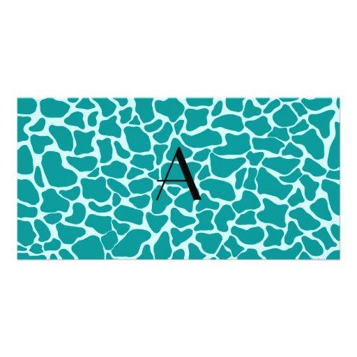 Monogram turquoise giraffe print photo card