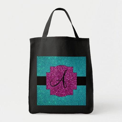 Monogram turquoise glitter bag