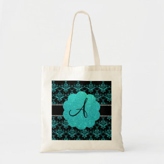Monogram turquoise glitter damask