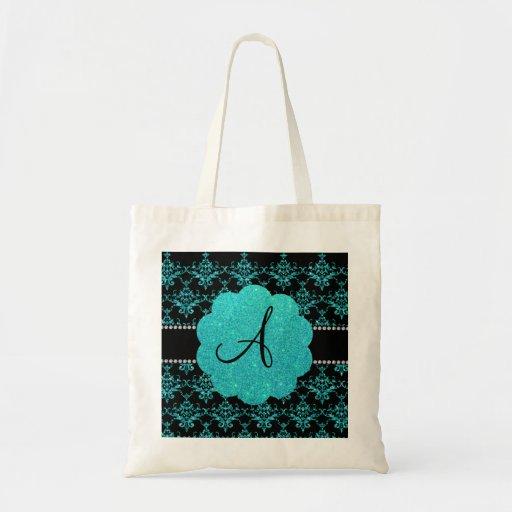 Monogram turquoise glitter damask canvas bag