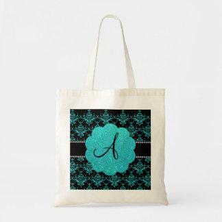 Monogram turquoise glitter damask budget tote bag
