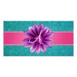 Monogram turquoise glitter pink daisy customized photo card