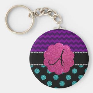 Monogram turquoise glitter polka dots basic round button keychain