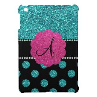 Monogram turquoise glitter polka dots cover for the iPad mini