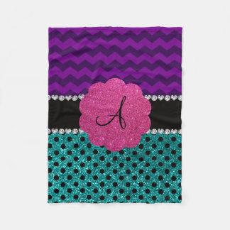 Monogram turquoise glitter polka dots purple zig fleece blanket