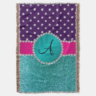 Monogram turquoise glitter purple diamonds throw blanket