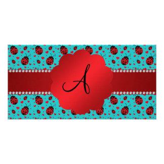 Monogram turquoise ladybugs hearts pattern photo greeting card