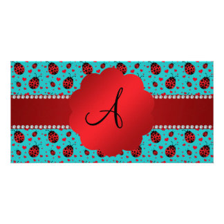 Monogram turquoise ladybugs hearts pattern custom photo card