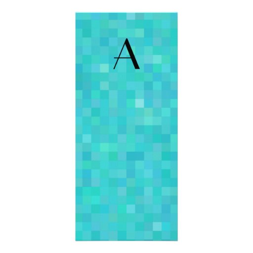 Monogram turquoise mosaic squares rack card template