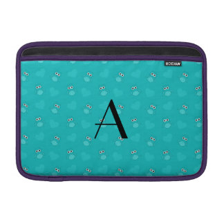 Monogram turquoise owls and hearts MacBook sleeves