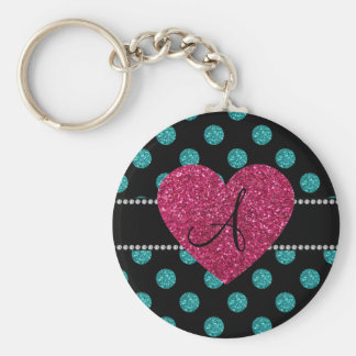Monogram turquoise polka dots pink heart keychains