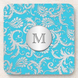 Monogram Turquoise Silver Damask Coaster Set (6)
