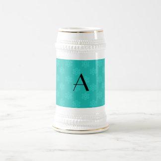 Monogram turquoise snowflakes mug