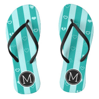 Monogram Turquoise Stripes Modern Heart Pattern Flip Flops