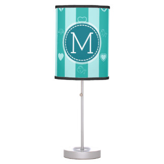 Monogram Turquoise Stripes Modern Heart Pattern Table Lamp