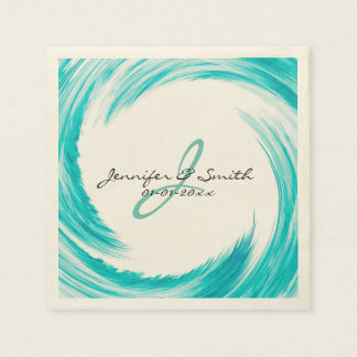 Monogram Turquoise Swirl Abstract Art Disposable Napkin