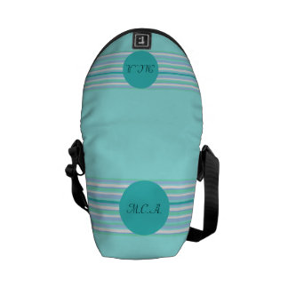 Monogram Turquoise & Turquoise Stripes Courier Bags