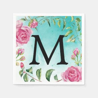Monogram Turquoise Watercolor Floral Wedding Paper Napkins