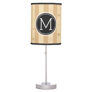 Monogram Tuscan Stripes Modern Heart Pattern Table Lamp