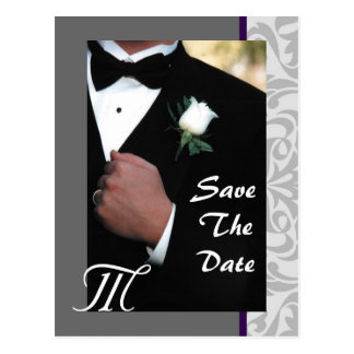 Monogram Tuxedo Groom Save The Date Postcard