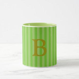 Monogram Two Tone Stripe Mug