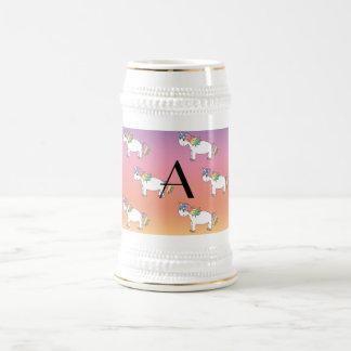 Monogram unicorn pattern mug