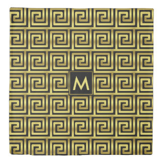 Monogram Upscale Black Faux Gold Greek Key Classy Duvet Cover