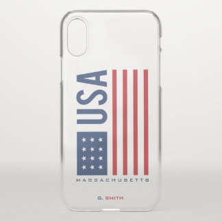 Monogram. US American Flag. Massachusetts. iPhone X Case