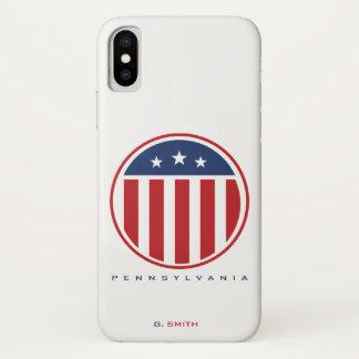 Monogram. US American Flag. Pennsylvania iPhone X Case