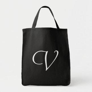 Monogram V Grocery Tote <Black>