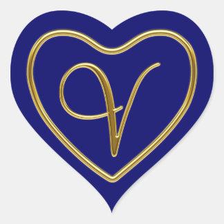 Monogram V in 3D gold Heart Sticker