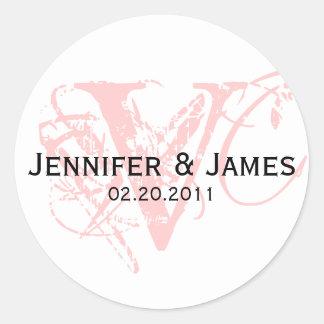 Monogram V Save the Date Wedding Sticker