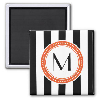 Monogram Vertical Stripes Magnet - coral
