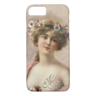 Monogram Victorian Nostalgia Vintage Flower Girl iPhone 8/7 Case