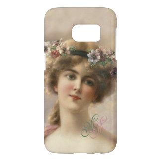 Monogram Victorian Nostalgia Vintage Flower Girl Samsung Galaxy S7 Case