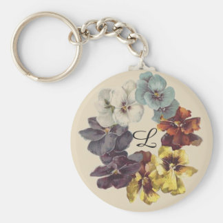 Monogram Victorian Pansy Flowers Ring Keychain
