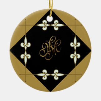 Monogram Victorian Vintage Art Nouveau Gold/Black Ceramic Ornament