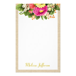 Monogram Vintage Asters Bouquet Pink Stationery