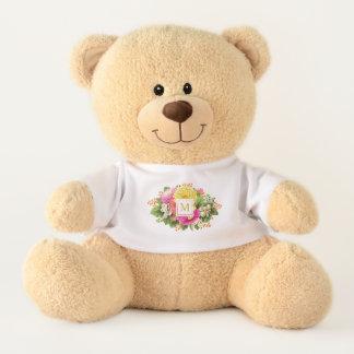 Monogram Vintage Asters Hot Pink Shabby Chic Teddy Bear