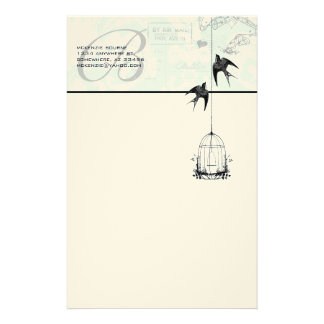 Monogram Vintage Bird Cage with Birds Air Mail Stationery