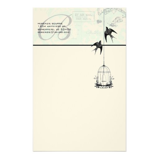 Monogram Vintage Bird Cage with Birds Air Mail Personalized Stationery