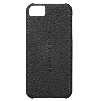 Monogram Vintage Black Leather Texture Cover For iPhone 5C