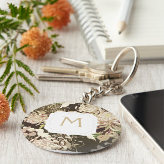 Monogram Vintage brown beige flowers and birds Keychain