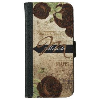 Monogram Vintage Chocolate Brown Roses iPhone 6 Wallet Case